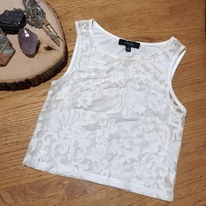 ANGL Front Sheer Embroidered Tank